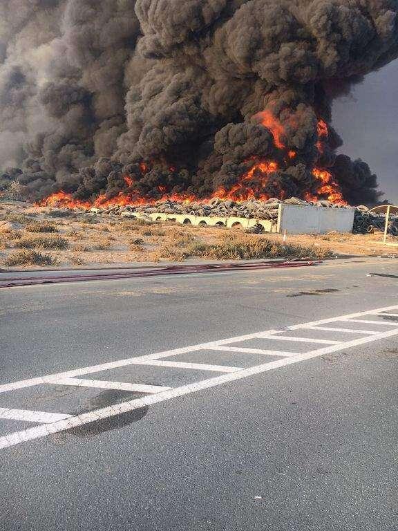 Massive fire breaks out in Sharjah tyre dumping area