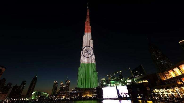 Burj Khalifa, Indian Independence Day, Dubai, UAE, Pakistan Independence Day, national flag