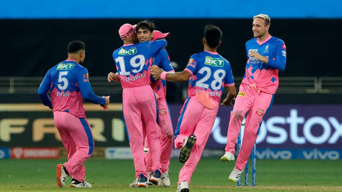 Kartik Tyagi of Rajasthan Royals celebrates a wicket with teammates. (BCCI)