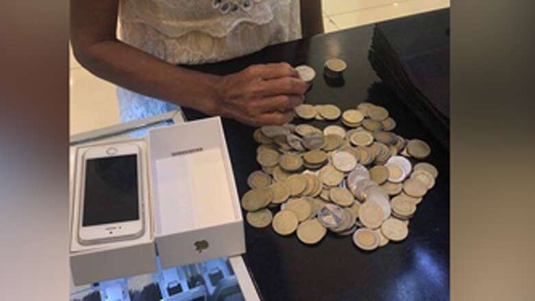 mother, carries, coins, store, buy, daughter, first phone, coins, daughter, coins
