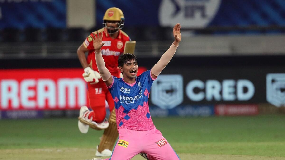 Kartik Tyagi of Rajasthan Royals appeals for a wicket. (ANI)