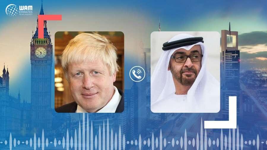 His Highness Sheikh Mohamed bin Zayed Al Nahyan, Boris Johnson, UAE, UK, phone call, global fight, coronavirus, Covid-19