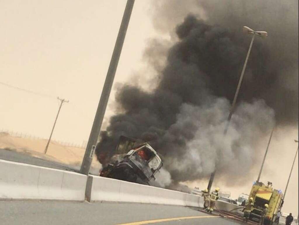Trucks catch fire after brutal collision along UAE road