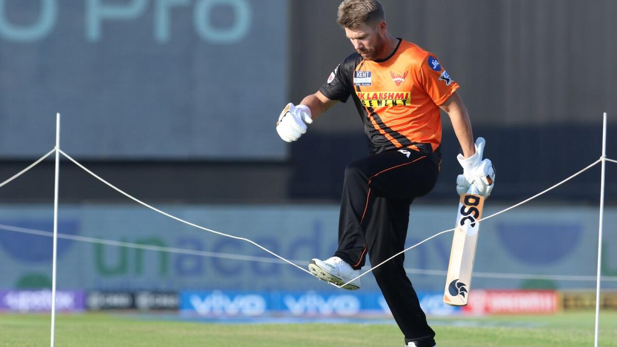 David Warner of Sunrisers Hyderabad before the start of the match against Punjab Kings. (BCCI)