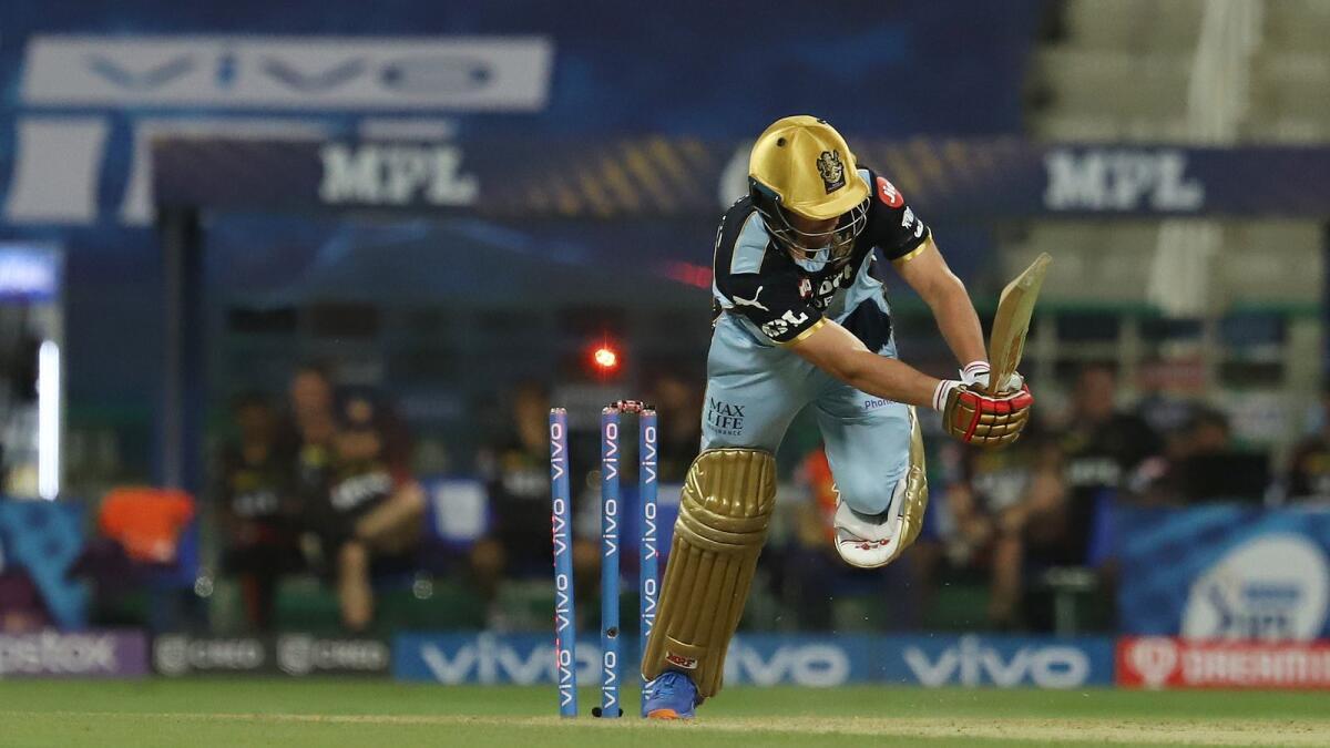 AB de Villiers of RCB gets clean bowled during the match against KKR. (BCCI)
