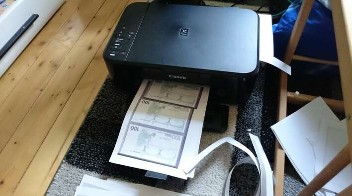 Audi, woman prints money at home, fake note, Germany car showroom, Monopoly