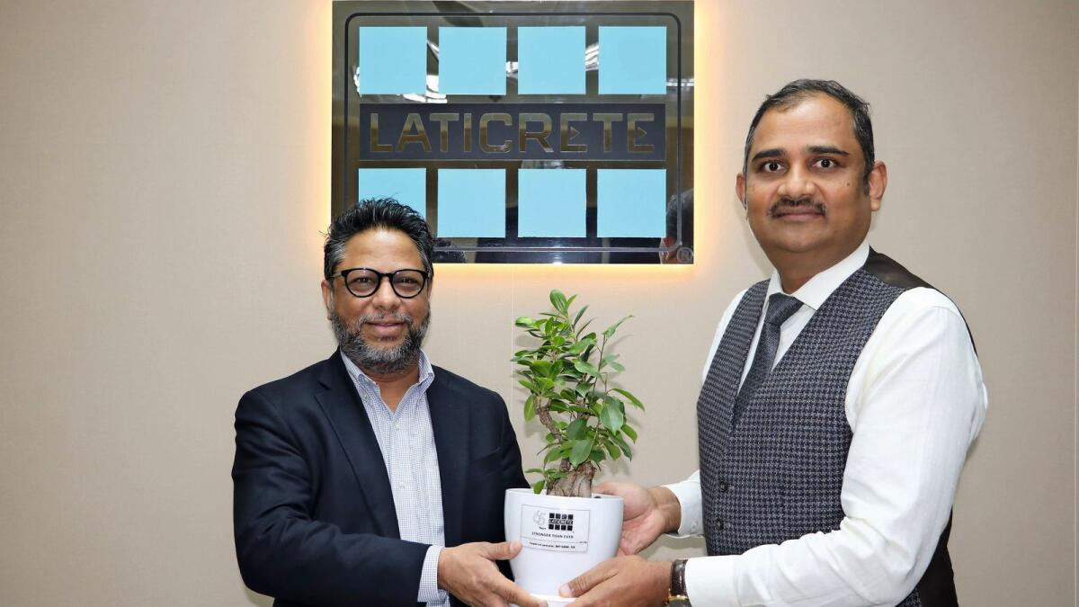 Faisal Saleem, President and COO of Laticrete International (left), with Ritesh Singh, General Manager, Middle East and Africa (right)