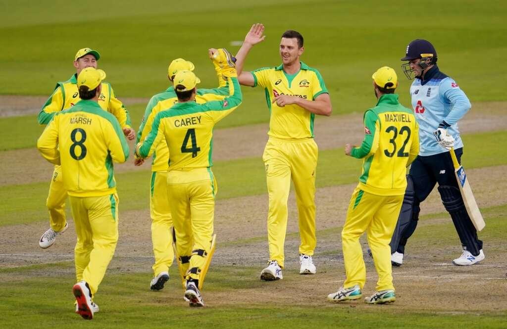 australia, beat, england, first, ODI, manchester, josh hazlewood