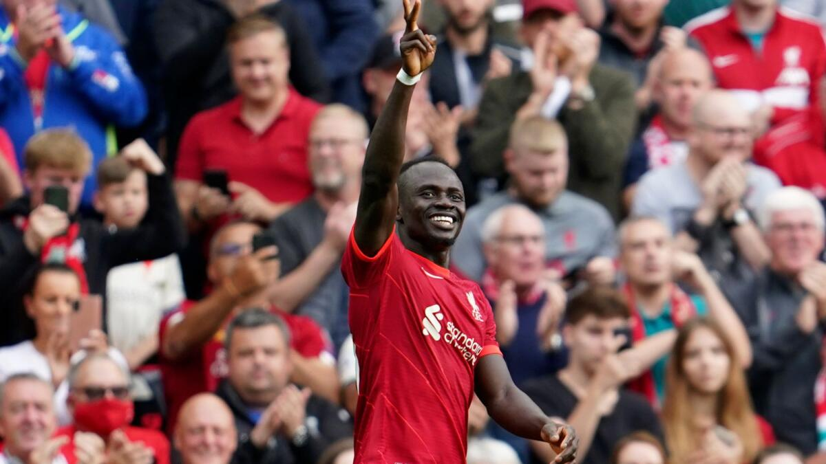 Liverpool's Sadio Mane celebrates a goal against Crystal Palace during the English Premier League match. — AP
