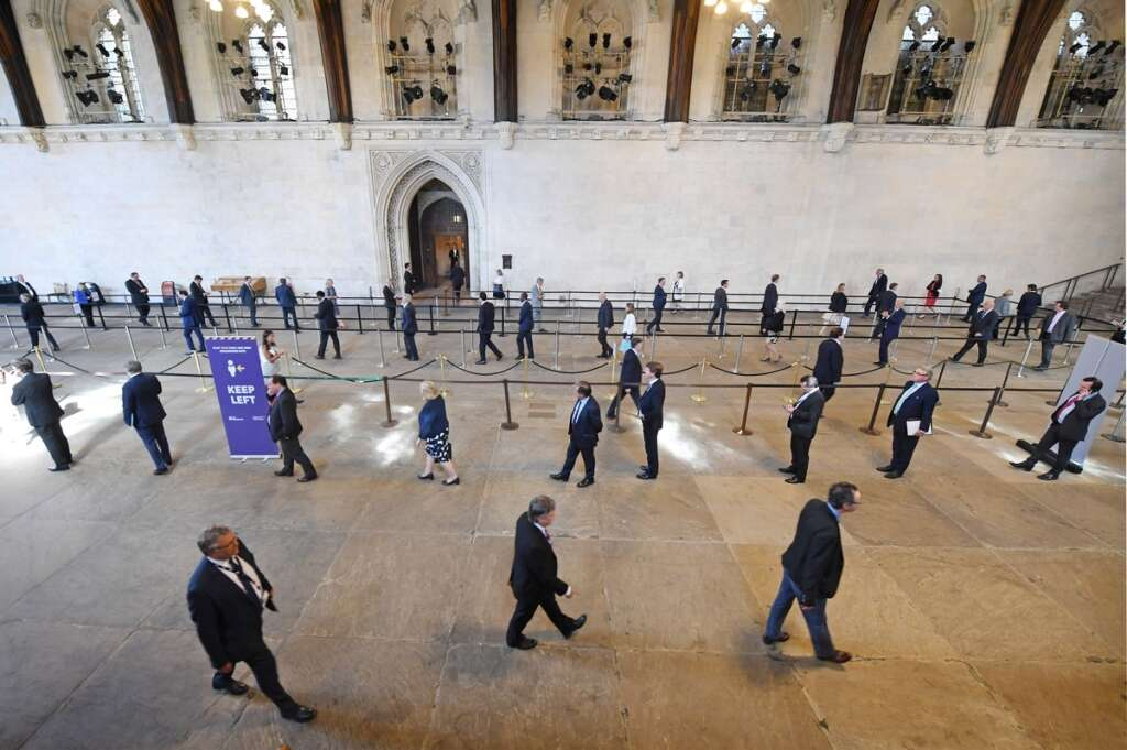 British, lawmakers, queues, Palace of Westminster, cast, votes, coronavirus-induced, measures