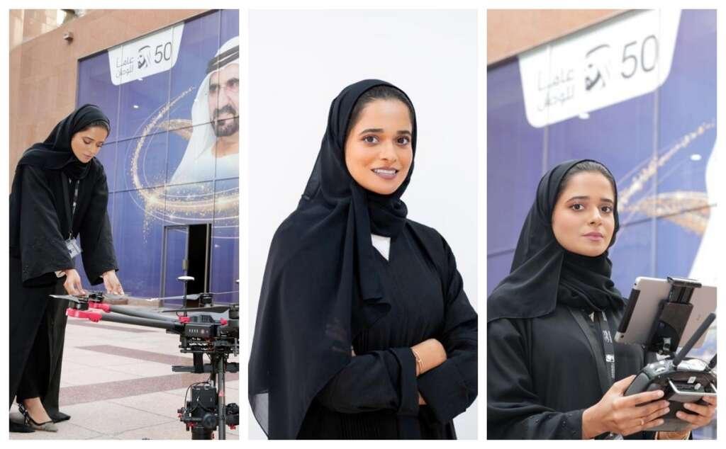 #SheIsEmirati, Dubai, first, female drone pilot, chasing, birds-eye views,