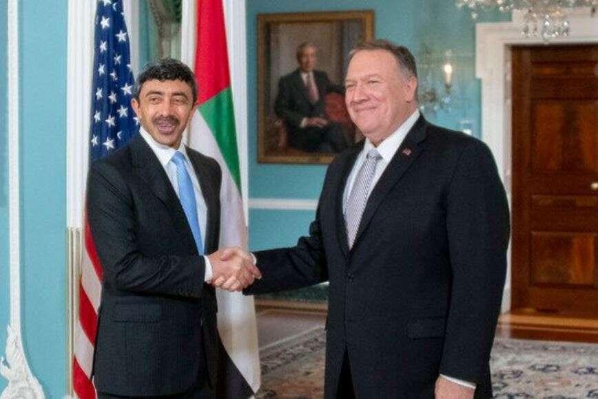 Pompeo, meets, UAE, Sheikh Abdullah Bin Zayed Al Nahyan, FM, Iran, regional issues