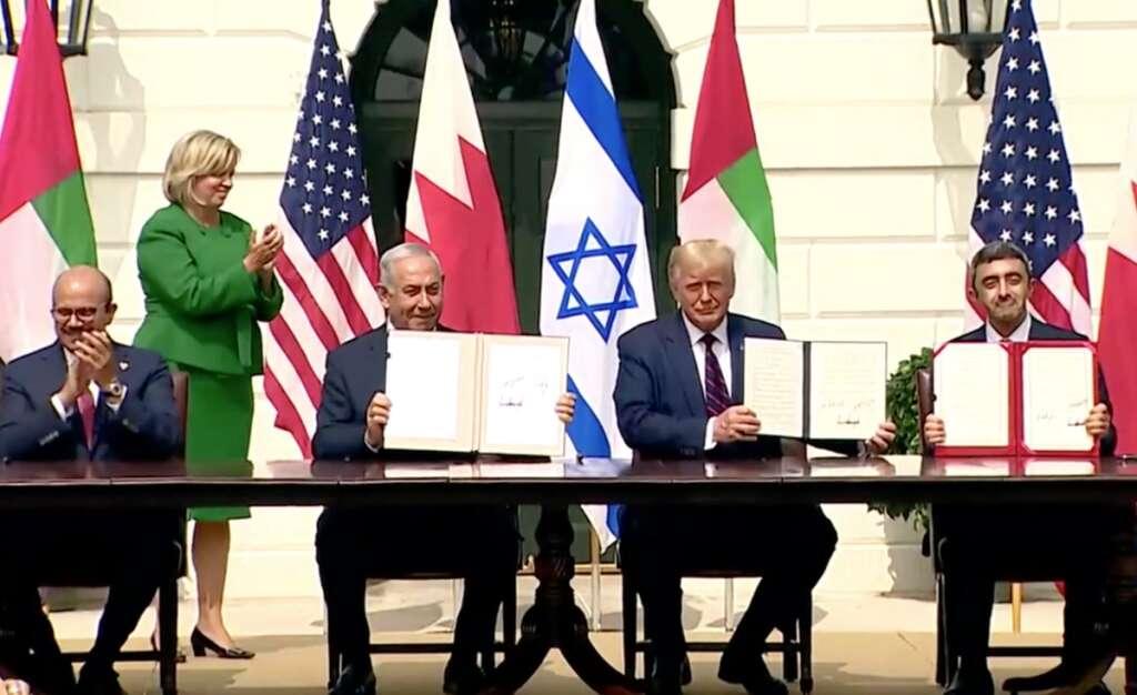 Donald trump, Sheikh abdullah, UAE, israel, Abraham Accord, Benjamin Netanyahu