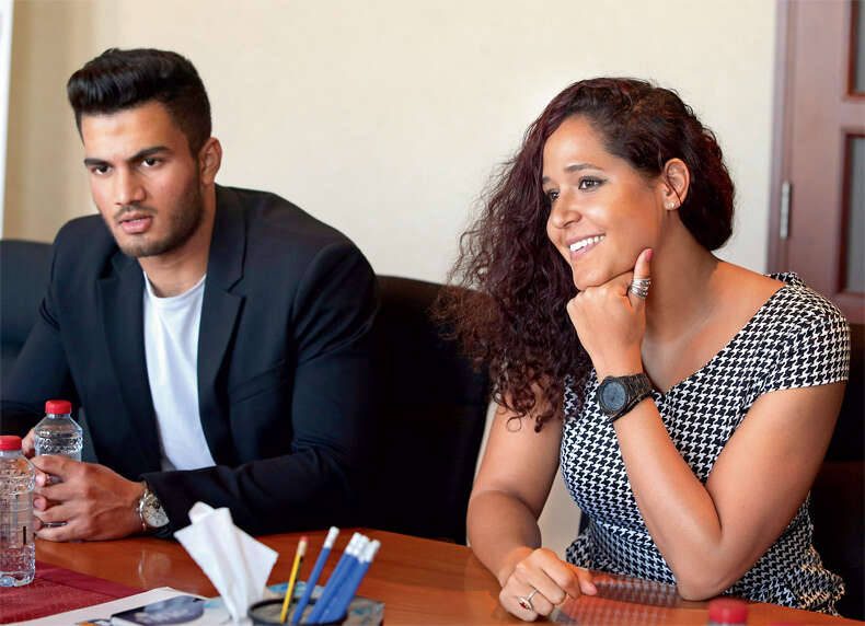 Shivank Vijaykumar and Sarra Lajnef, awardees of the third Annual Adam Gilchrist Sports Award during an interview at the University of Wollonggong in Dubai on Sunday.