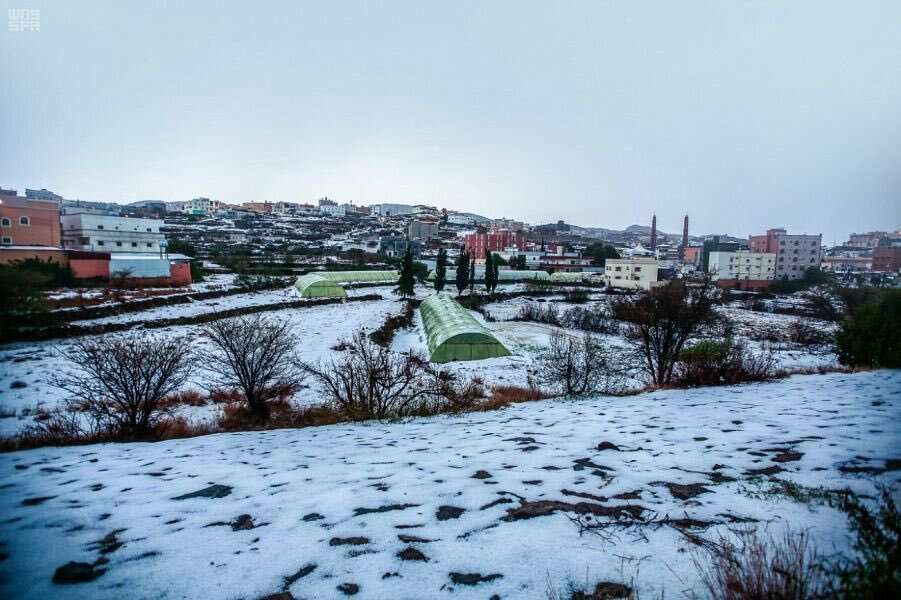 Photos: Saudi region gets covered in snow