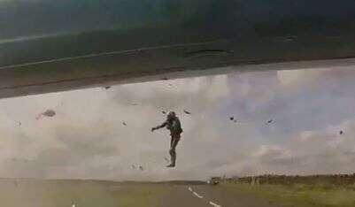 Man, flung, 15-feet, air, hit, speeding, driver,