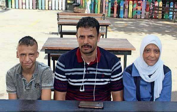 A Yemeni family that received treatment at Amman Hospital in Jordan.