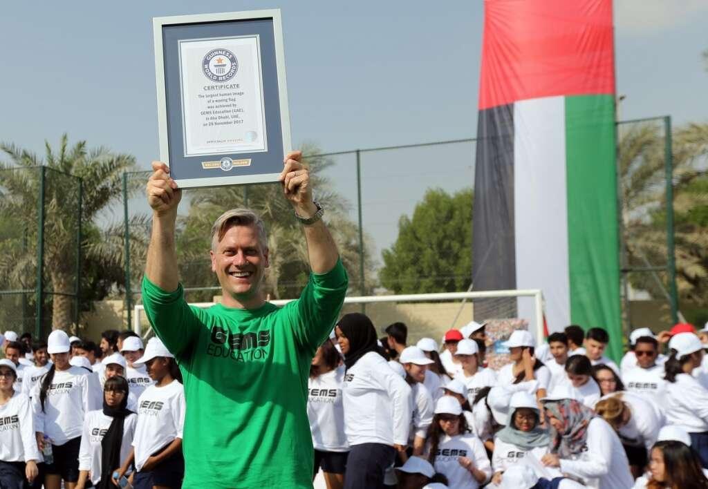 capital students form worlds largest waving flag khaleej times