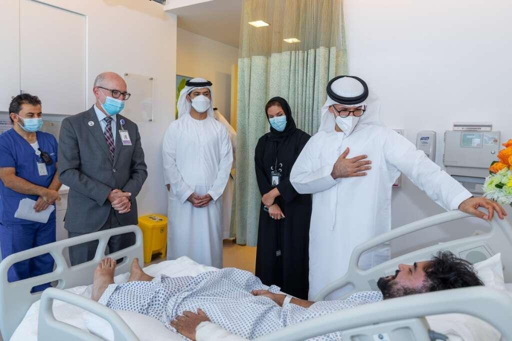 abu dhabi, gas leak, department of community development, visit, injured, Sheikh Shakhbout Medical City Hospital