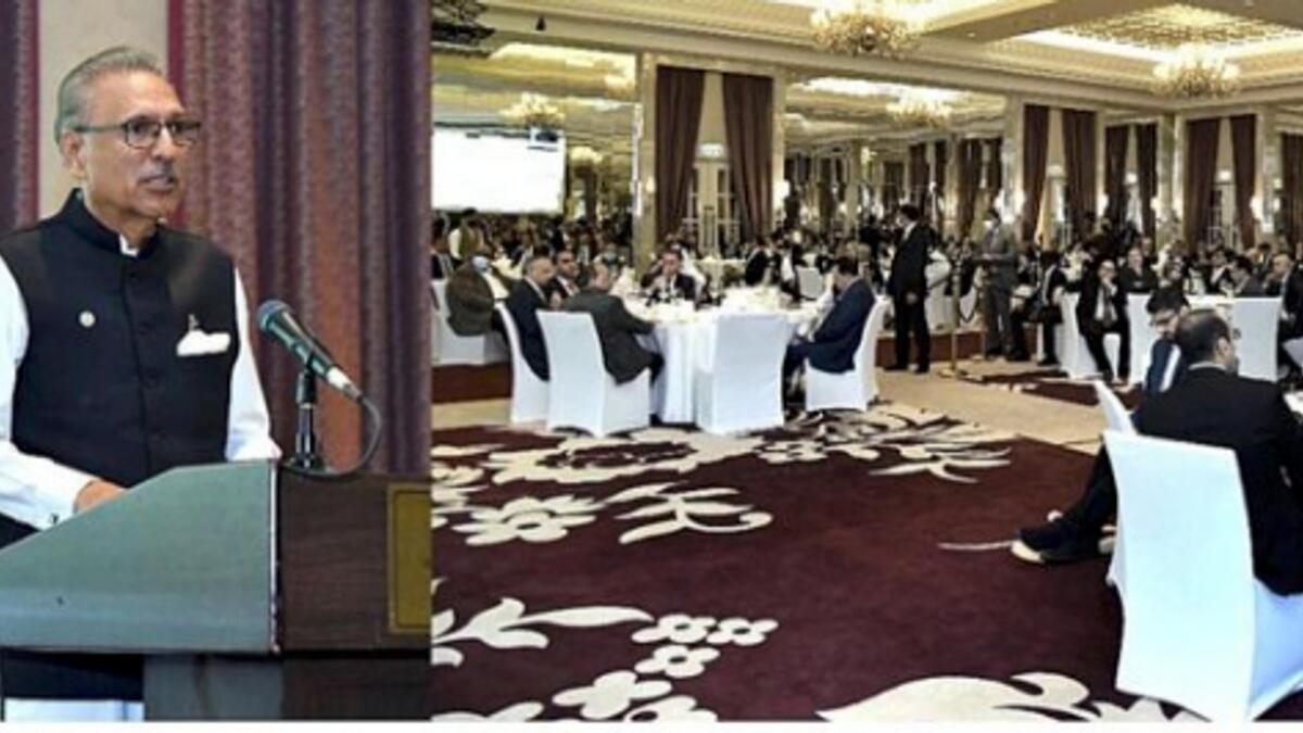 President Dr Arif Alvi addressing the investment conference hosted by Special Technology Zones Authority in Dubai on Saturday. — APP