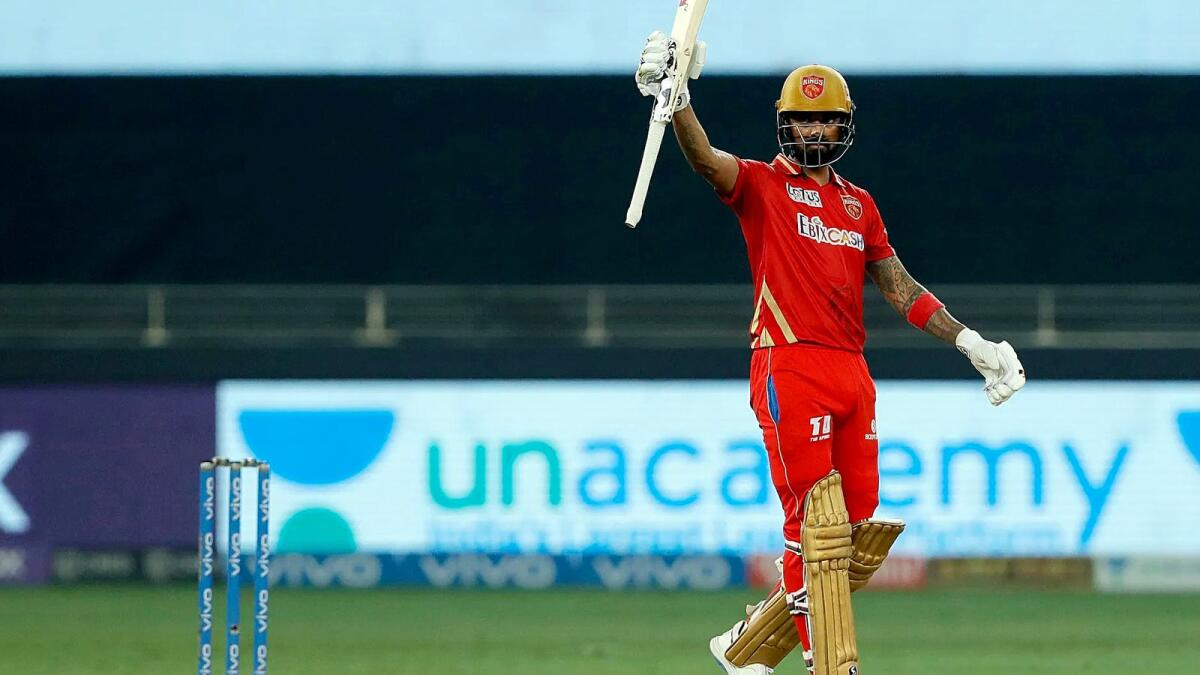 Punjab Kings captain KL Rahul celebrates his half-century. (BCCI)