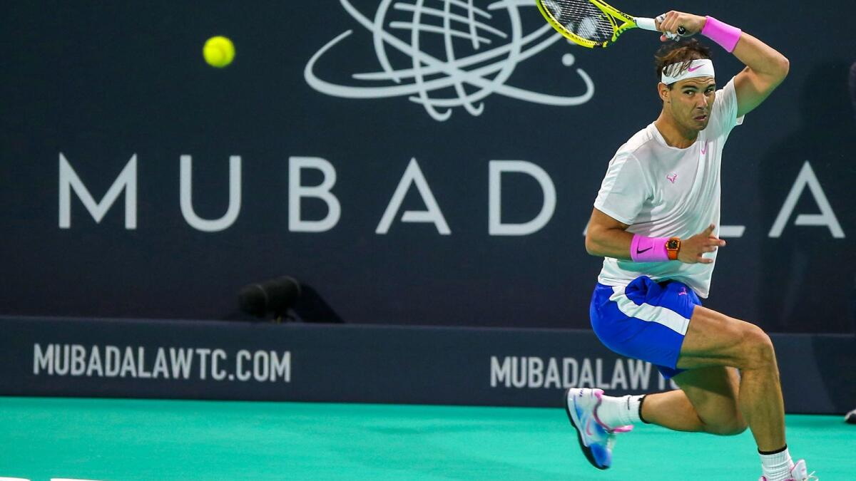 Rafael Nadal plays a return to Stefanos Tsitsipas during the 2019 Mubadala World Tennis Championship final in Abu Dhabi. (AFP file)