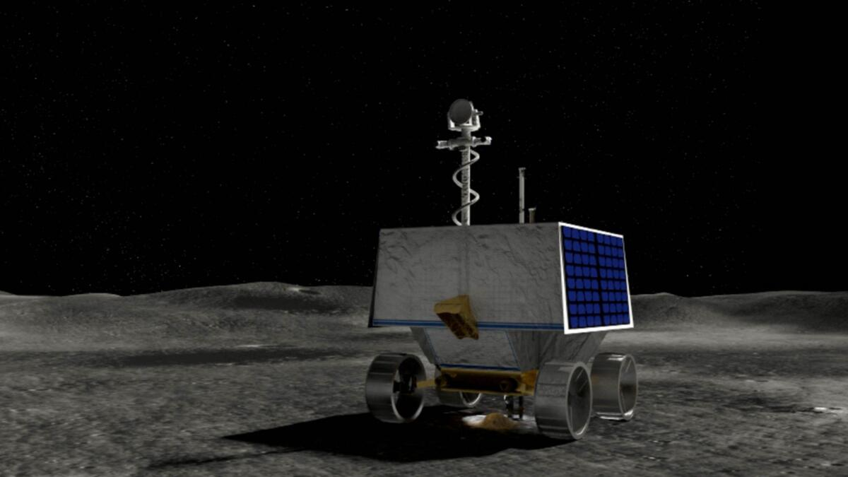 This handout illustration courtesy of Nasa shows Volatiles Investigating Polar Exploration Rover (VIPER) on the surface of the Moon.— AFP