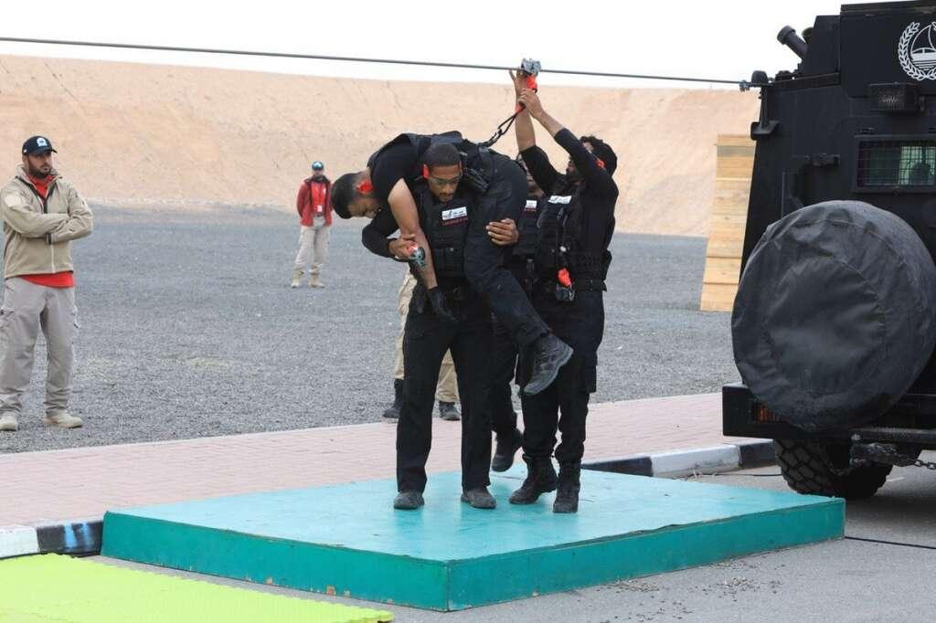 Sharpshooting, teams, zipline, Shooting, showdown, continues, UAE SWAT Challenge,