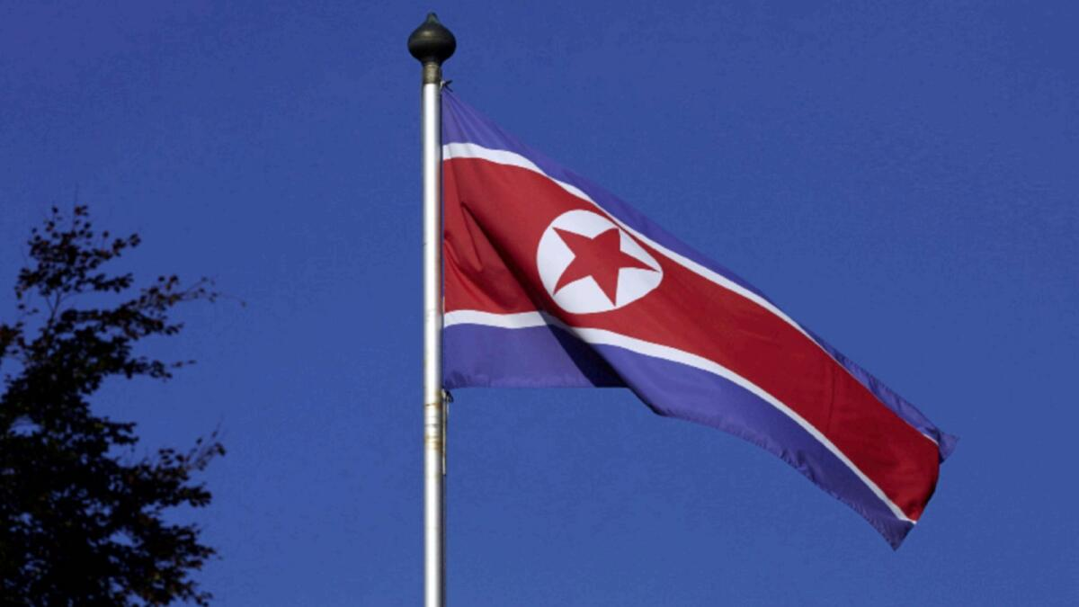 A North Korean flag flies on a mast at the Permanent Mission of North Korea in Geneva. — Reuters file