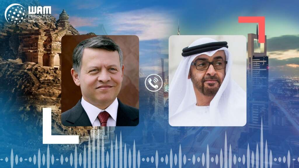 sheikh Mohamed, abu dhabi, uae, phone call, king Abdullah II of Jordan