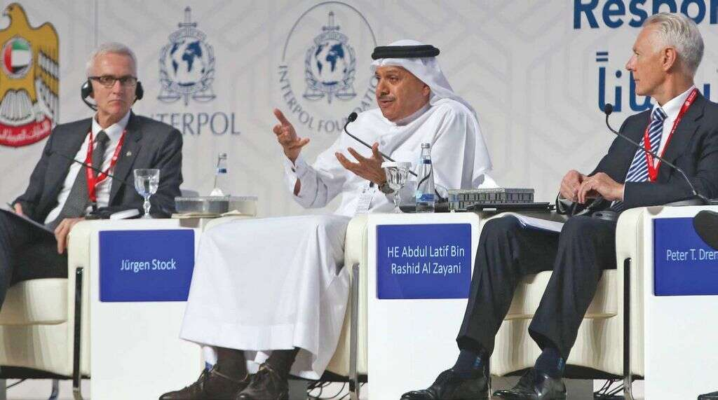 Abdullatif bin Rashid Al Zayani (centre) during a panel discussion at the conference. He said GCC-POL has already been staffed with police officials from the six member countries.