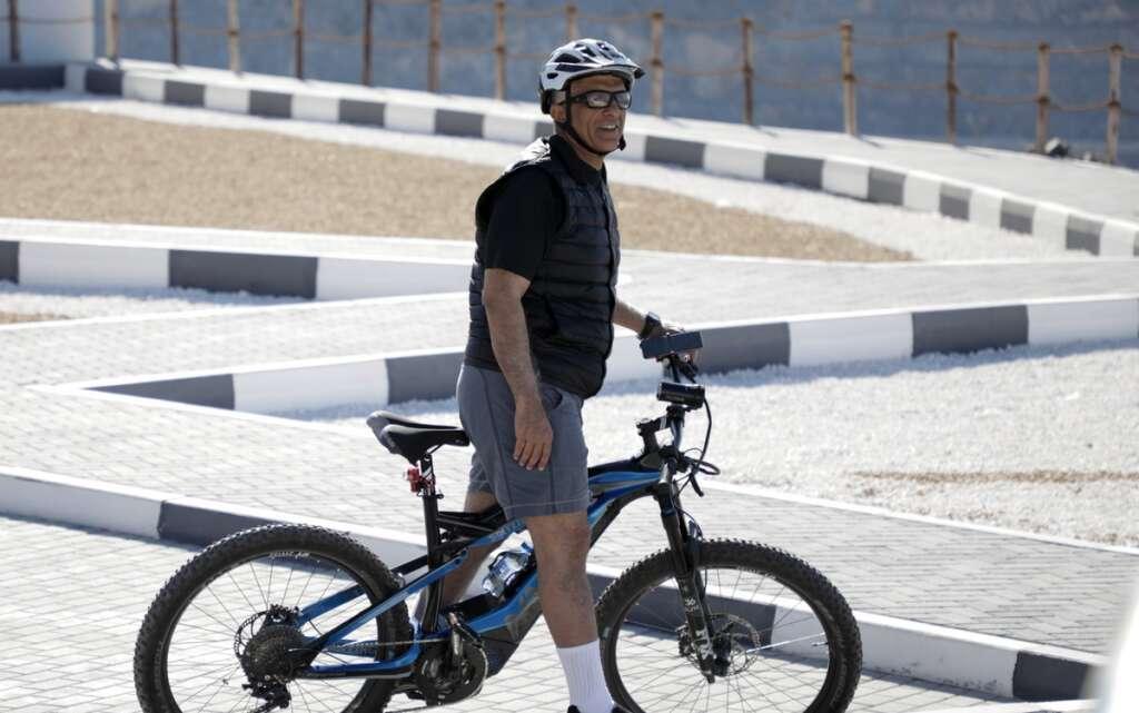 Video, Ras Al Khaimah Ruler, enjoys, bike ride, UAE highest mountain