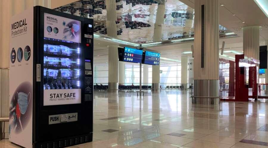 Dubai airport, DXB, terminal 2, terminal 1, PPE kit, coronavirus, covid-19, vending machine
