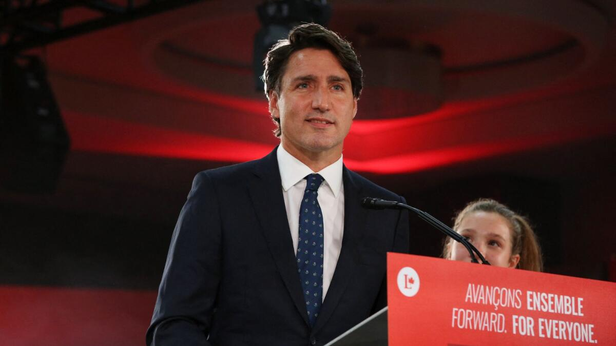 Canada's Prime Minister Justin Trudeau won a third term in Monday's federal election.   Photo: AFP