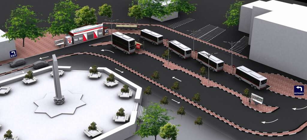Route maps in 3D at Dubai bus stations