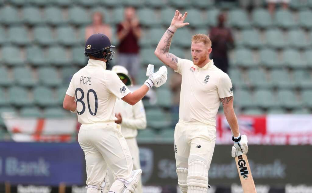 Stokes and Pope hit tons to put England on top
