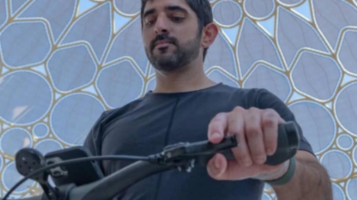 Look: Sheikh Hamdan cycles around Expo 2020 site, posts selfies from UAE Pavilion