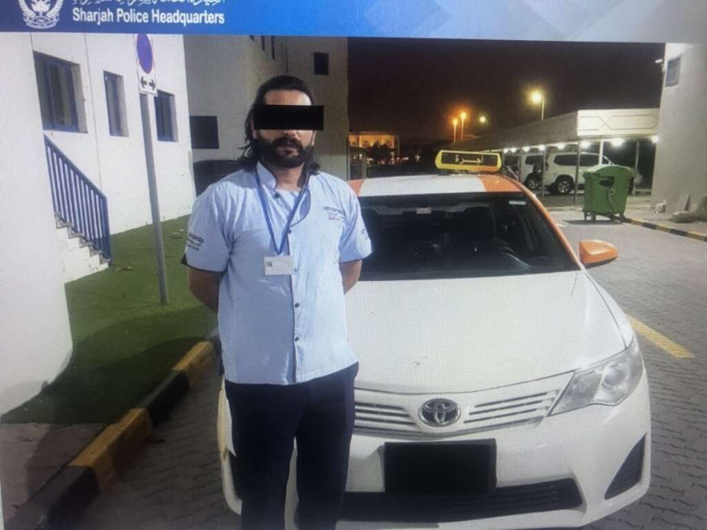 Sharjah Police, arrest, taxi driver, stunts, viral, video, Emirates Road