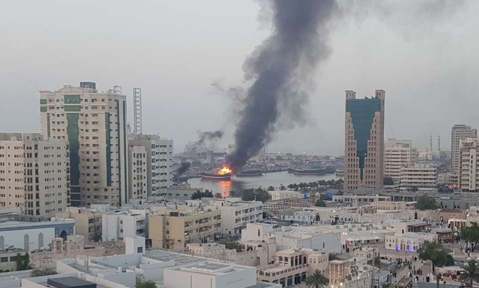 Video: Firefighters control boat blaze in Sharjah, no casualties