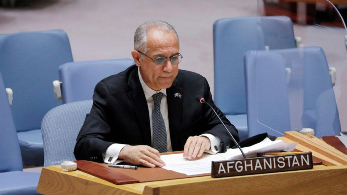 Afghanistan's U.N. ambassador Ghulam Isaczai addresses the United Nations Security Council regarding the situation in Afghanistan at the United Nations in New York City, New York, U.S., August 16, 2021. REUTERS