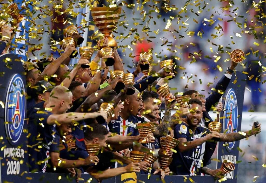 Paris Saint-Germain, win, penalty shootout, Lyon, win, French League Cup final, complete, domestic, treble