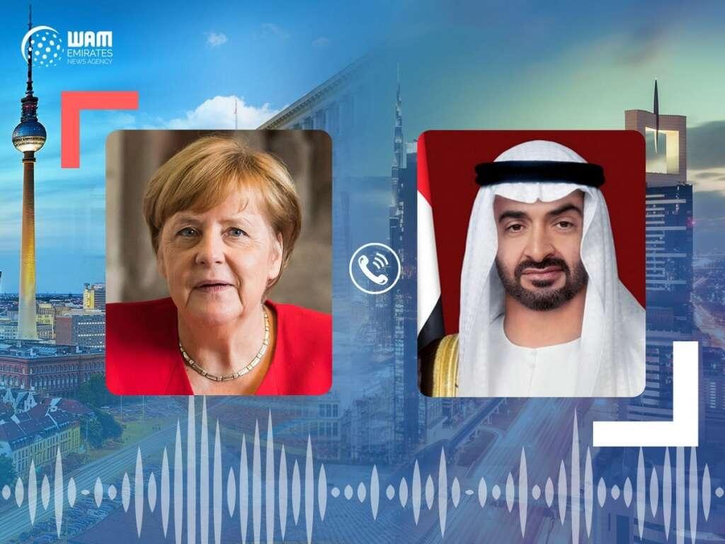 Sheikh Mohamed, Angela Merkel, UAE, Germany, cooperation, Libya, phone call