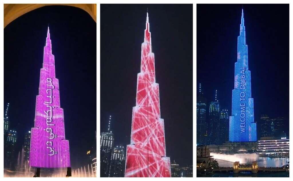 Welcome, Dubai, Burj Khalifa, greets, tourists, stunning show