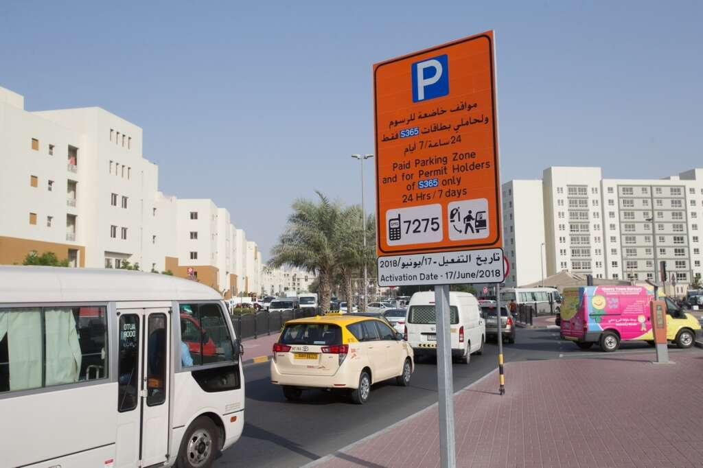 RTA parking board at the Al Khail Heights community displays the 24 hours, 7 days a week parking fee information which will come in effect from 17th June.-Photo by Neeraj Murali/Khaleej Times