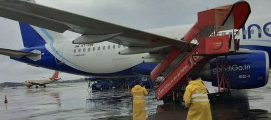 Strong wind causes stepladder to crash into aircraft parked at ...