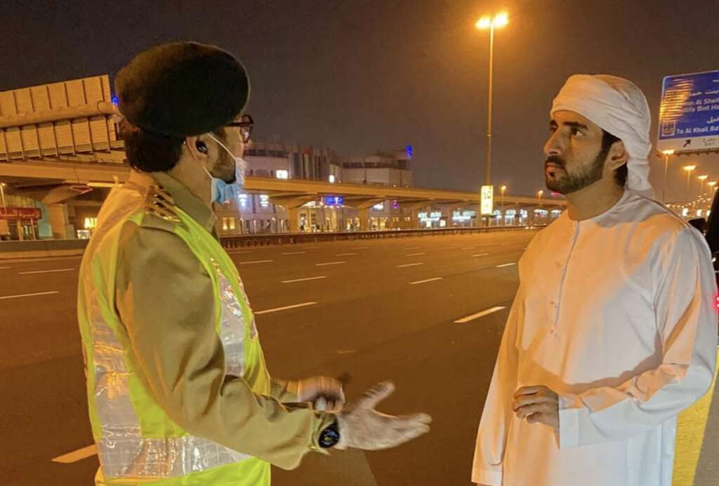 Combating, Covid-19, Sheikh Hamdan, inspects, police patrol, work, Sheikh Zayed Road