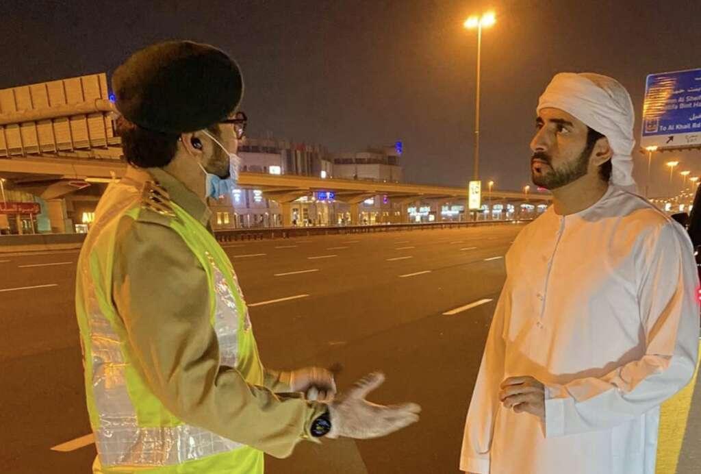 Combating, Covid-19, Sheikh Hamdan, inspects, police patrol, work, Sheikh Zayed Road
