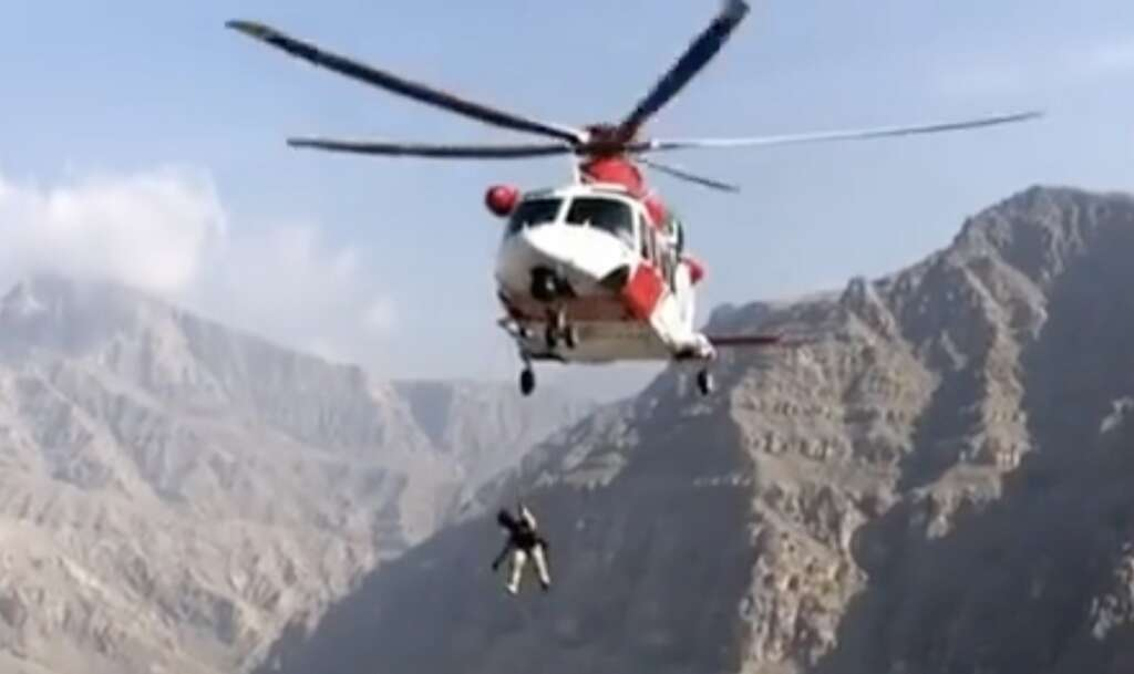 hurt, british, man, hiking, uae, mountain, helicopter, save, nsrc, airlifted, uae mountain