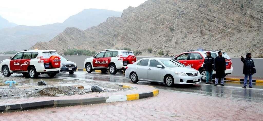 Ras Al Khaimah, Police, rainwater, roads, UAE, handle, 2,059, rain-related, reports, 2 days