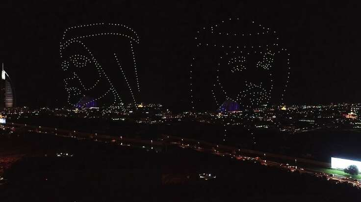 Video: 300 drones draw pictures of UAE leaders, set world record